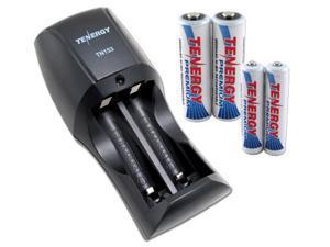 Combo: Tenergy TN153 2-Bay Standard Charger + 2 Premium AA 2500mAh & 2 Premium AAA 1000mAh NiMH Batteries