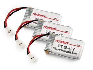 Tenergy 3.7V 380mAh LiPO High Performance Battery for TDR Spider, Hubsan X4, Syma X11/X11C, X51, WLtoys V252, JXD JXD385, XT Flyer, 3 pieces