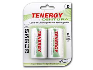 Tenergy Centura NiMH D 8000mAh Low Self Discharge Rechargeable Batteries, 1 Card 2xD