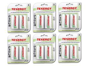 Tenergy Centura NiMH D Size 8000mAh Low Self Discharge Rechargeable Batteries, 6 Cards 12xD