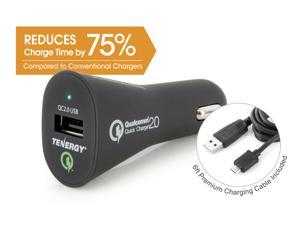 Tenergy 18W In-Vehicle Adaptive Fast USB Car Charger w/ Qualcomm® Quick Charge™ 2.0 Technology - Samsung Galaxy S6, Note 4, HTC One M8, Sony Xperia Z3, Z4 Tablet, Motorola Droid Turbo, Nexus 6, etc.