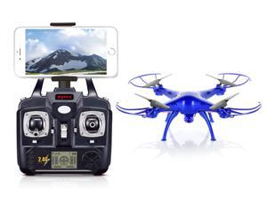 Syma X5SW Explorers2 2.4G 4CH 6-Axis Gyro RC Headless Quadcopter with 0.3MP HD Wifi Camera (FPV) - Thunder Blue Deluxe Package with additional accessories