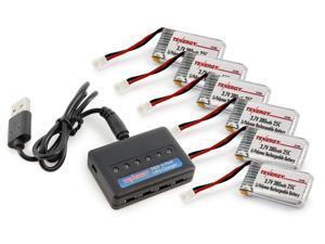 Tenergy T453 6-Port RC Battery Charger + 6pcs 3.7V 380mAh LiPO High Performance Batteries for TDR Spider, Hubsan X4, Syma X11/X11C, X51, WLtoys V252, JXD385, XT Flyer