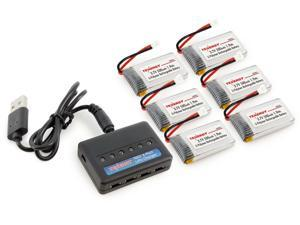 Tenergy T453 6-Port RC Battery Charger + 6pcs 3.7V 500mAh LiPO High Performance Batteries for Syma X5, X5C, X5C-1, X5SC, X5SW