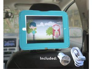 iPad Car Headrest Mount Holder for Apple iPad 4 / New iPad 3 / iPad 2 / iPad 1 Including Car Charger and Extra Long Cable - Blue