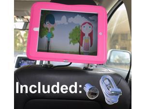 iPad Car Headrest Mount Holder for Apple iPad 4 / New iPad 3 / iPad 2 / iPad 1 Including Car Charger and Extra Long Cable - Pink