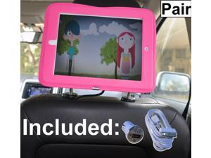 Pair of iPad Car Headrest Mount Holder for Apple iPad 4 / New iPad 3 / iPad 2 / iPad 1 Including Car Charger and Extra Long Cable - Pink