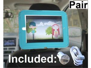 Pair of iPad Car Headrest Mount Holders for Apple iPad 4 / New iPad 3 / iPad 2 / iPad 1 Including Car Charger and Extra Long Cable - Blue