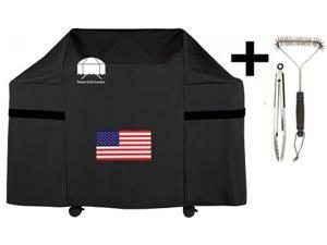 Texas Grill Covers 7553 Premium Cover for Weber Genesis E and S Series Gas Grills with USA Flag Design Including Brush and Tongs