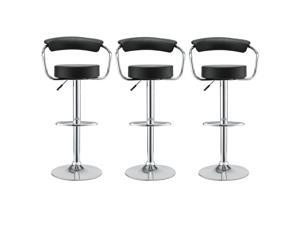Three 50's Diner Bar Stools in Black Vinyl