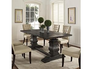Column Wood Dining Table in Black