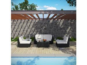Camfora 5 Piece Outdoor Patio Sectional Set in Espresso White