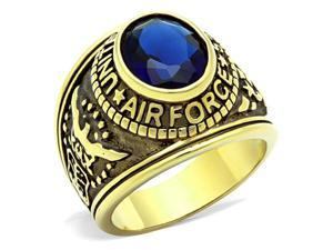Stainless US Air Force USAF Military Ring Gold Plated with Blue Stone, Size 10