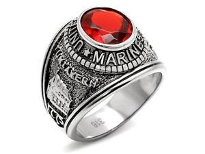 Stainless Steel US Marine Corps USMC Military Ring with Red Stone, Size 11