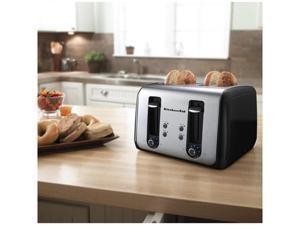 KitchenAid Kmt411ob 4 Slice All Metal Toaster Stainless Steel-Black Bagel Button Manufacturer Refurbished