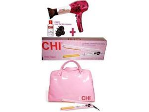 Chi Limited Edition Pink lace Hair Dryer & Iron Comb Pro Purple Ceramic+Diffuser NEW