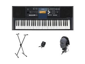 Yamaha PSRE333 61-Key Portable Digital Keyboard Piano+Stand+Adapter+Headphone New