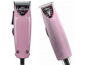 Pink Oster Fast Feed Hair Clipper + T-Finisher Trimmer Classic Combo