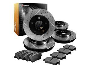 R1 Concepts CPDS11090 Premier Series Drilled And Slotted Rotors And Ceramic Pads Kit - Front and Rear