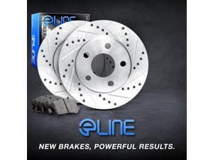 Front eLine Drilled Slotted Brake Disc Rotors & Ceramic Brake Pads Accord,TSX