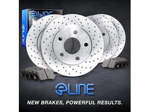 Brake Rotors FRONT+REAR 4 ELINE CROSS DRILLED PERFORMANCE + 8 CERAMIC PADS