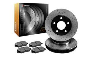 R1 Concepts KPX10736 Premier Series Cross-Drilled Rotors And Ceramic Pads Kit - Front
