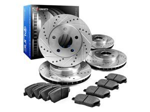 R1 Concepts CEDS10530 Eline Series Cross-Drilled Slotted Rotors And Ceramic Pads Kit - Front and Rear