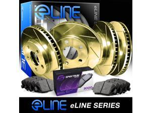 Front and Rear Gold Slotted Brake Disc Rotors & Ceramic Brake Pads Accord,TSX