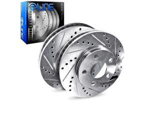 "Brake Rotors 2 REAR ELINE ""DRILLED AND SLOTTED"" PERFORMANCE DISC RU03032"