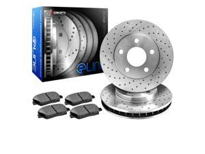 R1 Concepts KEX11146 Eline Series Cross-Drilled Rotors And Ceramic Pads Kit - Front