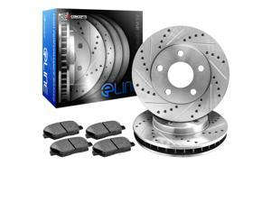 R1 Concepts KEDS10585 Eline Series Cross-Drilled Slotted Rotors And Ceramic Pads Kit - Rear