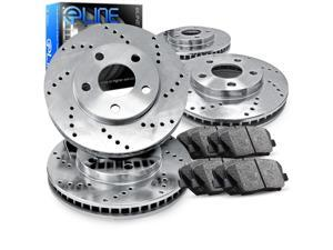 1992 1993 Acura Integra GSR 1.7L Front And Rear Cross Drilled Brake Rotors + Ceramic Pads