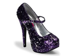 Purple and Silver Reversible Sequin Mary Janes High Heels