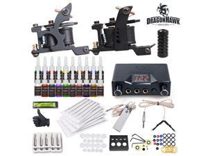 Complete Tattoo Kit needles 2 Machine Guns Power Supply 20 Color Inks HW-21GD-8