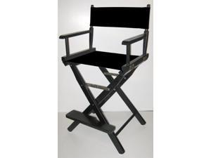 Folding Director's Style Chair w 24-Inch Seat Height & Black Finish Frame (Gold)