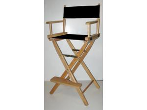 30-Inch Seat Height Folding Director's Chair w Natural Finish Frame (Gold)