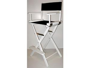 Director's Chair w Folding Frame in White Finish & 30-Inch Seat Height (Gold Canvas)
