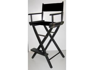 Director's Canvas Chair w Folding Black Finish Frame & 30-Inch Seat Height (Gold)