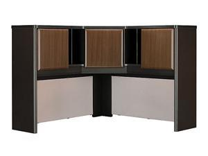Corner Hutch w Three Cabinets in Sienna Walnut - Series A