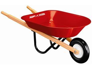 Kid's Wheelbarrow w Red Metal Tub and Wood Handles