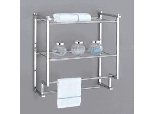 Metro Two Tier Wall Mounting Rack w Towel Bars in Chrome Plate