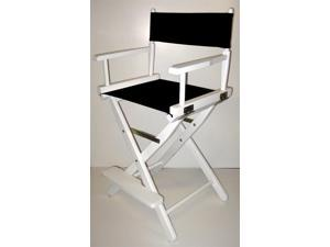 Folding Director's Style Chair w 24-Inch Seat Height & White Frame (Gold)