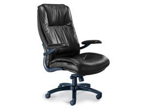Leather High Back Chair in Black