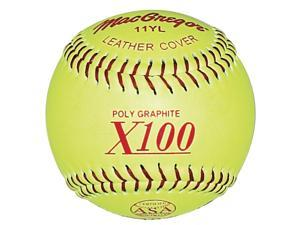 Leather Cover Softball in Green - Set of 12
