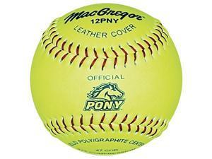 Softballs - MacGregor Pony-Approved Yellow Leather, One Dozen