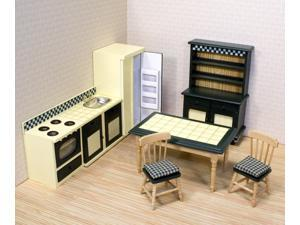 7 Pc Dollhouse Kitchen Furniture Set in Wood