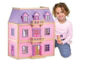 Solid Wood Three-Level Dollhouse with Hand-Painted Furniture