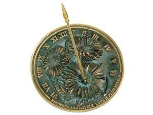 Floral Sundial with Brass Frame & Motto