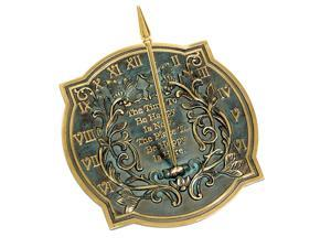 Brass Happiness Sundial with Verdigris Highlights