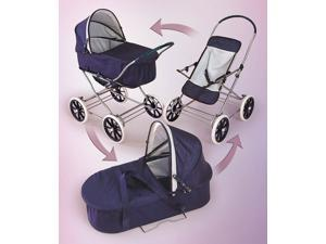 Badger Basket English Style 3-in-1 Doll Pram in Navy and White